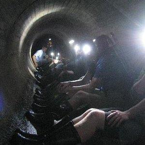 Enjoying a rest and look around underground