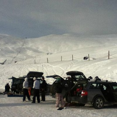 Mt Dobson carpark and field with powder galore.