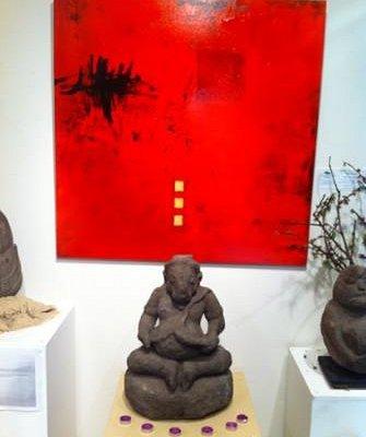 Ganesh sculpture and Keryn Seelander painting for sale
