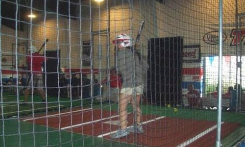 One of my friends hitting in Cage 1.