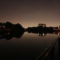 Lake Aquitaine at night.