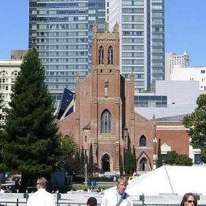 St. Patrick Catholic Church as seen from Yerba Gardens
