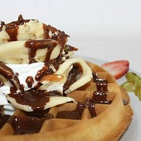 Our Famous Waffles, with bananas, ice cream and chocolate ...enjoy!