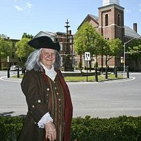Ben Franklin, ambassador to Franklin County, standing in the town square in Chambersburg, PA