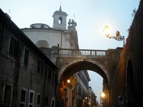 Farnese Arch (Arco dei Farnesi) and Holy Mary of Prayer and Death Church