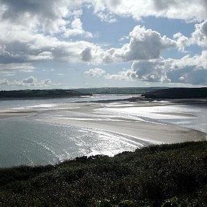 Looking towards Tregirls Beach from the Coast Path
