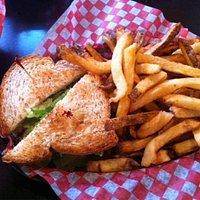 Chichen Salad Sandwich with fries