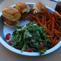 Pulled pork sliders with sweet potato fries and salad
