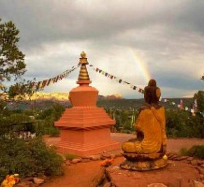 The Amitabha Stupa and Buddha Statue overlooking Sedona Arizona
