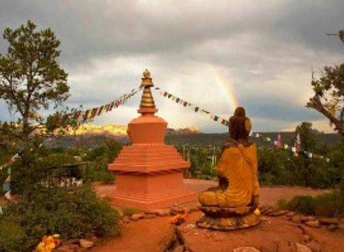 The Amitabha Stupa and Buddha Statue overlooking Sedona Arizona