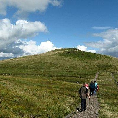 People walking towards Windy Hill