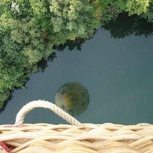 Balloon flight over a lake