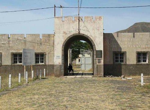 Entrance to notorious Portuguese concentration camp of Chao Bom, near Tarrafal, Santiago, Cape V