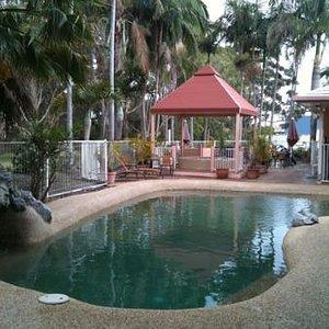 tropical pool and spa