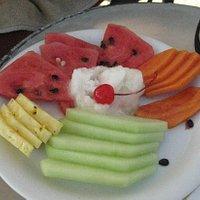 Fruit plate with lemon sorbet $8