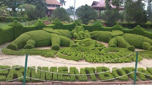 beautifully manicured elephant garden sculpture at entrance, pity about the living