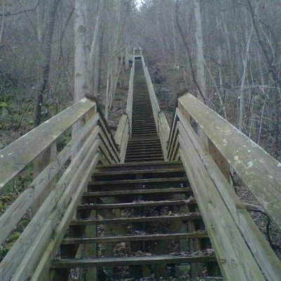 Looking up the Kaymoor Steps