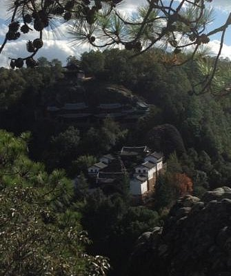 Shibaoshan cave complex as viewed from the opposite mountain.