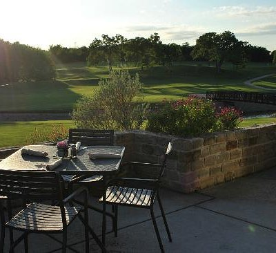 Patio at Raven's Grille overlooking the 18th fairway.