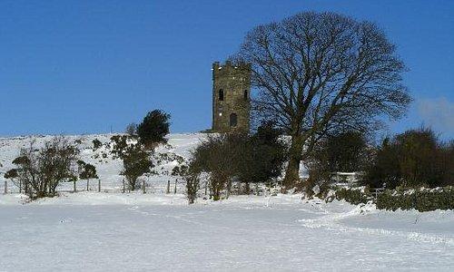 Folly tower on a snowy February morning