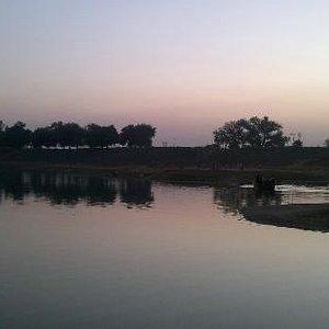 View of Damdama Lake during sun set