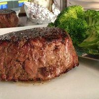 A filet and broccoli at The SteaKhouse