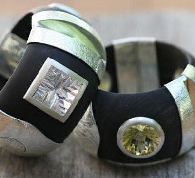 blackwood, silver & gemstone bangle